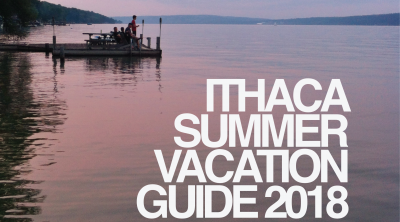 Ithaca Summer Vacation Guide Cover, Cayuga Lake, boat dock, fishing, sunset.