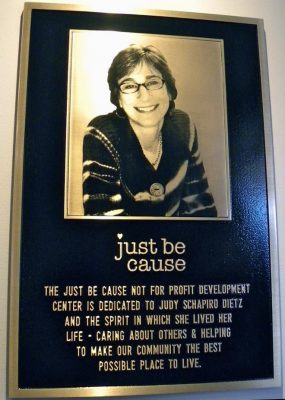 Just Be Cause Center dedication plaque to Judy Dietz