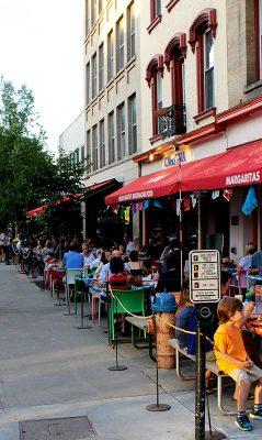 Ithaca NY, Restaurant Row, Aurora Street, near Downtown Apartments