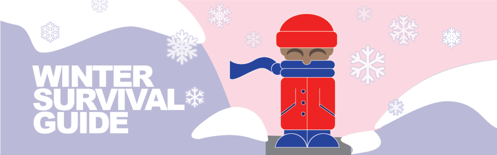 """Banner image for Ithaca Winter Guide, cartoon figure with snowflakes, snowdrifts, and the words """"Winter Survival Guide"""""""